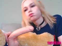 Teenager trap with a long dildo deepthroat