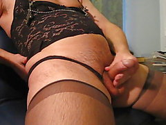 Crossdresser cums all over stockings
