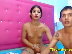 Latina couple guy fucks shemale oral job webcam