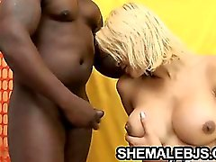 Latina shemale stuffing her mouth with cock
