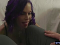 Busty latina shemale Foxxy bigass gets plowed in many angles