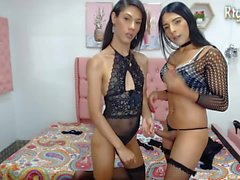 slender tranny couple Andrea Y Taty having some fun on livecam