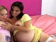 Foxy kittens pound the biggest strap dildos and spray jizm a