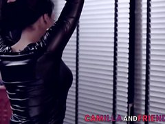 Trans domina fucks and jizzes gimp