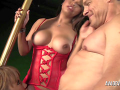 Ava Devine in t-girl three way with Carmen Jay