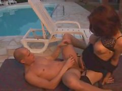 Randy brunette drills guy near the pool
