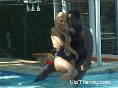 Beautiful blonde fucks with a black stud