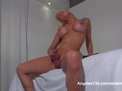 Big Tits Blonde Tranny Strokes Her Thick Cock To Orgasm