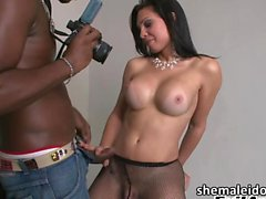 Shemale Ana Paula loves big black cock