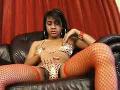 Teen shemale stripping and rubbing