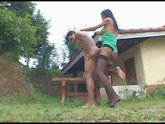 Bruna fucks guy outdoor