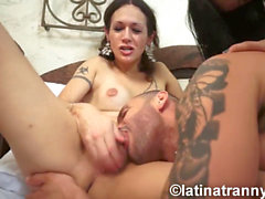 Nikki Montero and Bruna Butterfly hard-core three way and jizzing on TonyLee