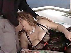 Chubby tranny fucked by older guy