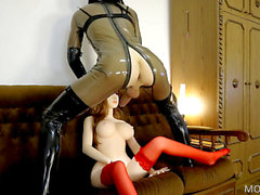 crazy hump Doll Asian Real Doll fucked by Latex t-girl