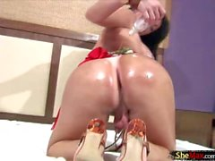 Horny shemale oiled up and ready to stroke