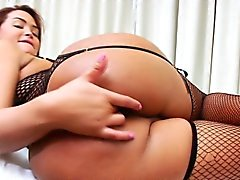 Stockings tgirl solo fun