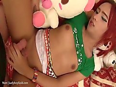 Redhead asian shemale gets barebacked very hard