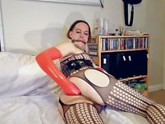 Chrissy Purple 35 Long red latex gloves fisting and ball gag