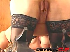 Pussy licking and strapon games with sissified slave!