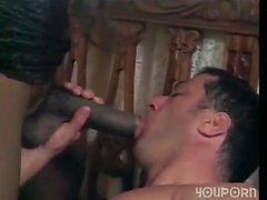 Huge dicked ebony TS drills a white guy