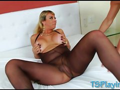 Huge boobs blonde shemale Walkiria Drumond fucked horny dude