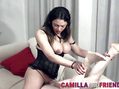 deep-throated trans mistress bangs and cums on slave