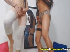 Hot Sexy Tranny Couple Anal Fucking on Cam