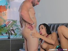 Busty dick sucking tranny